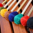Coloured mallets on marimba — Stock Photo #11269339
