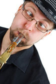 Grimace with saxophone — Stock Photo