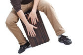 Man playing the cajon — Stock Photo