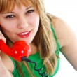 Young woman with red old fashioned telephone — Stock Photo