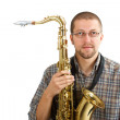 Young man with his saxophone — Stock Photo