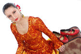 Flamenco dancers with red shoes — Stock Photo