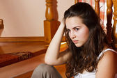 Triste adolescente en casa — Foto de Stock