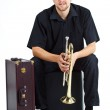 Young man with trumpet and suitcase — Stock Photo #11383024