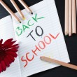 Back to school notice with flower and pencils — Stock Photo #11383039
