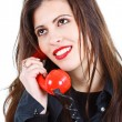 Beautiful woman with retro telephone — Stock Photo #11383152