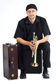 Young man with trumpet and suitcase — Stock Photo