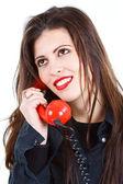 レトロな電話と美しい女性 — ストック写真