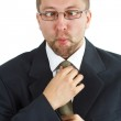 Young businessman with funny grimace — Stock Photo