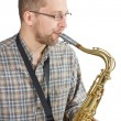 Man playing the saxophone — Stock Photo #11400278