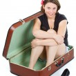 Beautiful young woman in suitcase — Stock Photo