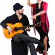 Flamenco dancer with guitarist — Stock Photo #11437291