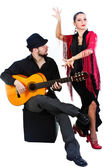 Flamenco dancer with guitarist — Stock Photo