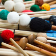 Pile of colored mallets and sticks — Stock Photo #11446608
