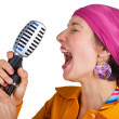 funky cantante donna — Foto Stock