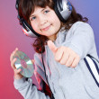 Cute girl with headset — Stock Photo