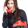 Beautiful woman with retro telephone — Stock Photo