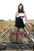 Young woman on railroad — Stock Photo