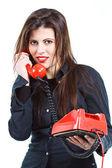Beautiful woman with retro telephone — Stock Photo