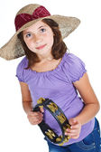 Cute girl with straw hat and tambourine — Stock Photo