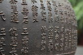 Chinese characters on a metal sphere. — Stock Photo