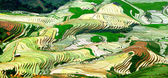 Terraced rice field, water fall — Stock Photo