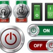 Stock Vector: Electric switches and button
