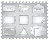 Postal envelope icon stamp parcel — Stock Vector