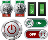 Electric switches and button — Stock Vector