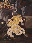 Thai art wall in temple Thailand — Stock Photo