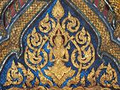 Style de l'art thaïlandais sur mur, temple à bangkok, Thaïlande — Photo