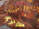 Wandkunst malerei im tempel thailand. malerei über ramayana ep — Stockfoto