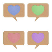 Heart tag recycled paper on white background — Stock Photo