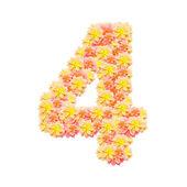 4,flower alphabet isolated on white — Stock Photo