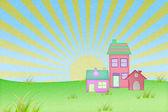 Casa de papel reciclado con fondo conjunto sol y campo de hierba — Foto de Stock