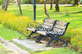 Benches in the park with flower — Stock Photo