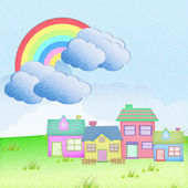 House from recycle paper with grass field rainbow background — Stock Photo