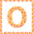 O,flower alphabet isolated on white with flame — Stock Photo