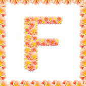 F,flower alphabet isolated on white with flame — Stock Photo