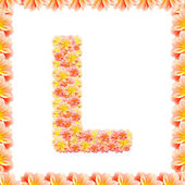 L,flower alphabet isolated on white with flame — Stock Photo