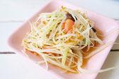 Somtum lub Sałatka Zielona papaja jest najbardziej popularne danie w Chin — Zdjęcie stockowe