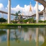 Bhumibol Bridge in Thailand,The bridge crosses the Chao Phraya R — Stock Photo #12217289