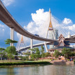 Bhumibol Bridge in Thailand,The bridge crosses the Chao Phraya R — Stock Photo