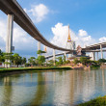 Bhumibol Bridge, The Industrial Ring Road Bridge in Bangkok, Thailand — Stock Photo