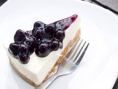 A Slice of Blueberry Cheesecake — Stock Photo