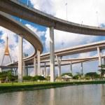 Bhumibol Bridge in Thailand,The bridge crosses the Chao Phraya R — Stock Photo #12222311