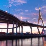 Bhumibol Bridge, The Industrial Ring Road Bridge in Bangkok. Lon — Stock Photo #12222579