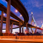 Bhumibol Bridge, The Industrial Ring Road Bridge in Bangkok. Lon — Stock Photo #12222648
