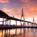 Bhumibol Bridge, The Industrial Ring Road Bridge in Bangkok. Lon — Stock Photo