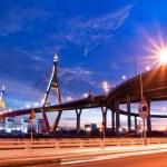 Bhumibol Bridge, The Industrial Ring Road Bridge in Bangkok. Lon — Stock Photo #12225030